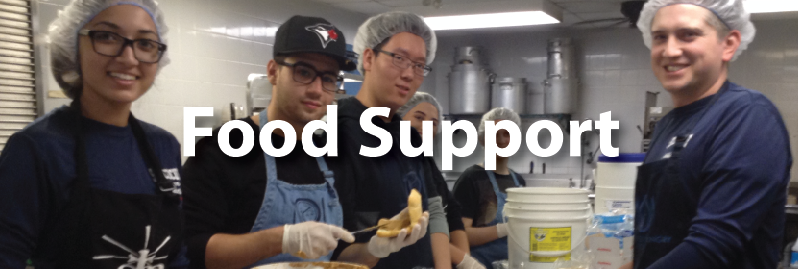Food Support button showing volunteers cooking food